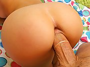 Tiny 18yo blonde gets her puss y rammed by this huge cock then takes the cream all to her face
